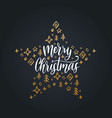 merry christmas lettering on black background vector image vector image