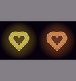 neon heart in yellow and orange color vector image vector image