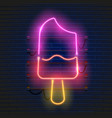 neon ice cream sign on dark brick wall background vector image