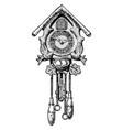 old cuckoo clock vector image vector image