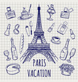 paris or france symbols sketch vector image vector image