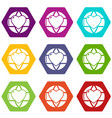 planet heart icons set 9 vector image vector image