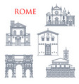 rome landmarks italy famous architecture vector image vector image