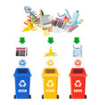rubbish bins for recycling different types of vector image vector image
