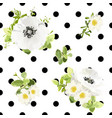 seamless dots style floral pattern vector image