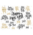 set of hand lettering 2018 new year vector image vector image
