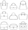 Set of handbags on white background vector image