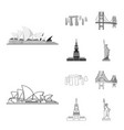 sights of different countries outlinemonochrome vector image vector image