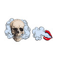 smoke coming out of skull and lips with red vector image vector image