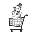 snowman in shopping cart sketch engraving vector image vector image