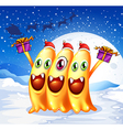 Three monsters celebrating christmas vector image vector image