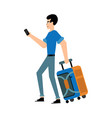 tourist male character with suitcase and mobile vector image