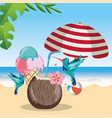 tropical beach scenery theme cartoon vector image vector image