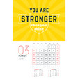 wall calendar template for march 2018 design vector image vector image
