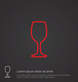 wineglass outline symbol red on dark background vector image vector image