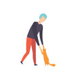 young man playing with his cat adorable pet and vector image vector image