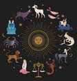 zodiac signs collections medieval style on starry vector image vector image