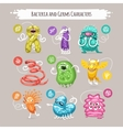 Bacteria and Germs Characters Set vector image