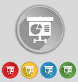 Graph icon sign Symbol on five flat buttons vector image