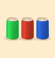 soda in a tin in red green and blue color vector image