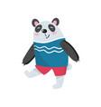 cartoon panda character walking with smiling vector image