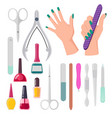 hands and manicure instruments vector image