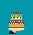 hand holding birthday cake flat vector image