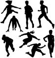 Running and jumping silhouettes vector | Price: 1 Credit (USD $1)