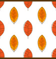 autumn leaves seamless pattern orange forest leaf vector image