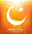 Beautiful bright moons and stars on orange vector image vector image