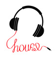 Black headphones with red cord word house vector image vector image