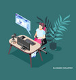 blogger isometric background vector image vector image