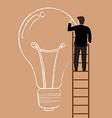 Businessman on the ladder drawing lightbulb idea vector image