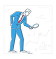 businessman with a magnifying glass - line design vector image