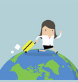 businesswoman with walking around the world vector image vector image