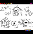 cartoon funny dogs characters coloring book page vector image vector image