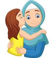 cartoon girl kissing her mothers cheek vector image vector image