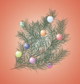 Christmas tree with toys on a red background vector image vector image