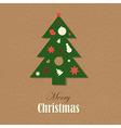 Christmas Vintage Card With Christmas Tree vector image