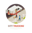 city trucking isometric round composition vector image vector image