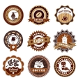 Coffe Emblems Labels Set Brown vector image vector image