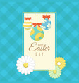 easter banner with ornamental easter eggs vector image