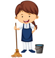 Female cleaner with broom and water bucket vector image vector image
