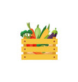 flat eggplants in wooden box icon vector image vector image