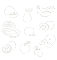 Fruits sketchy icons vector image