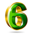 gold and green number 6 isolated on white vector image vector image