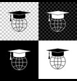 graduation cap on globe icon isolated on black vector image vector image