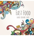 Hand drawn background of fast food elements vector image vector image