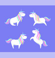 happy white unicorns rainbow color mane and horn vector image