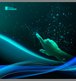 human hand pointing to night sky vector image vector image